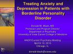 Treating Anxiety and Depression in Patients with Borderline Personality Disorder