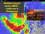 Multiple hazard zones (MHZ) : California & Philippines