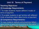 Unit 10 Terms of Payment