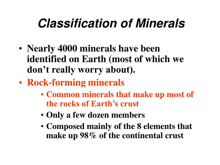 classification of minerals n.