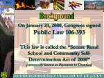 On January 24, 2000, Congress signed Public Law 106-393