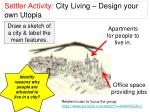 Settler Activity: City Living – Design your own Utopia