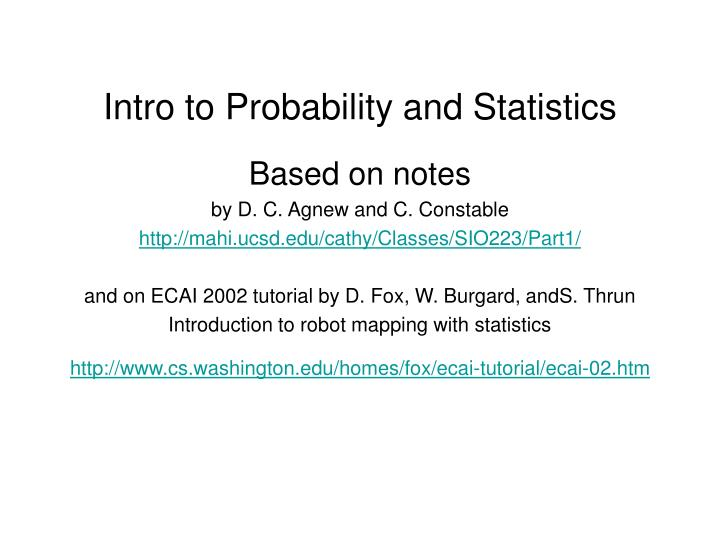 PPT - Intro to Probability and Statistics PowerPoint Presentation