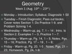 Geometry Week 1 (Aug. 19 th  – 23 rd  )