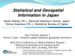 Statistical  and Geospatial Information in  Japan