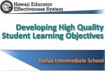 Developing High Quality  Student Learning Objectives