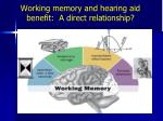 Working memory and hearing aid benefit:  A direct relationship?