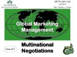 Global Marketing Management Multinational  Negotiations