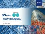 Diversity in water resources, costs and energy consumption