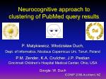 Neurocognitive approach to clustering of  PubMed  query results