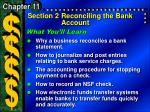Section 2	Reconciling the Bank Account