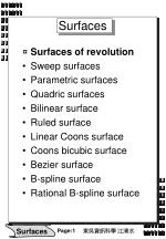 Surfaces Surfaces of revolution  Sweep surfaces  Parametric surfaces  Quadric surfaces