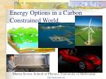 Energy Options in a Carbon Constrained World.