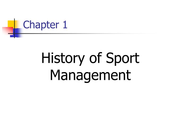 history of sport management n.
