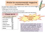 Article for environmental magazine due Wednesday  14 th  May
