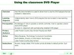 Using the classroom DVD Player