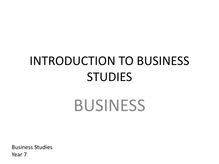 introduction to business studies n.