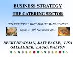 BUSINESS STRATEGY THE CATERING SECTOR INTERNATIONAL HOSPITALITY MANAGEMENT