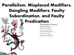 Parallelism, Misplaced Modifiers, Dangling Modifiers, Faulty Subordination, and Faulty Predication