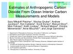 Estimates of Anthropogenic Carbon Dioxide From Ocean Interior Carbon Measurements and Models