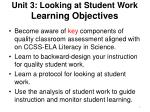 Unit 3: Looking at Student Work Learning Objectives