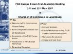 PSC Europe Forum first Assembly Meeting 21 st and 22 nd May 2007 in