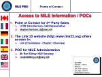 Access to NILE Information / POCs