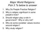 Major World Religions: Pick 3 ?s below to answer