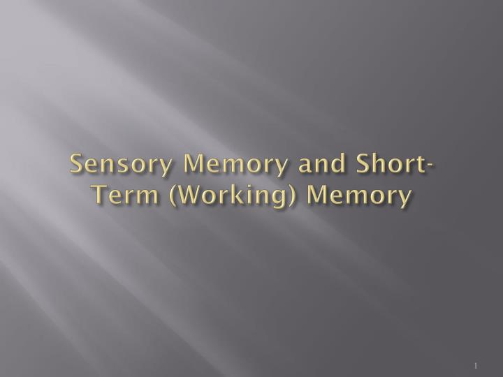 sensory memory and short term working memory n.