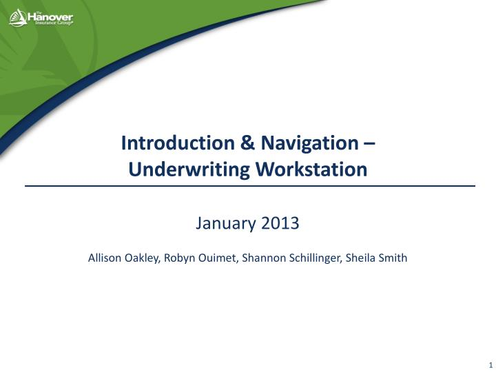 introduction navigation underwriting workstation n.