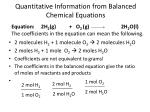 Quantitative Information from Balanced Chemical Equations