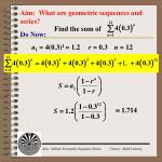 Aim:  What are geometric sequences and series?