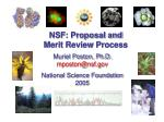 NSF: Proposal and  Merit Review Process