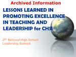 LESSONS LEARNED IN PROMOTING EXCELLENCE IN TEACHING AND LEADERSHIP for CHSI