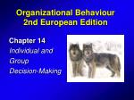 Chapter 14 Individual and Group Decision-Making