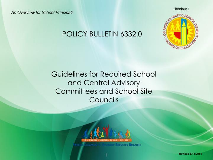guidelines for required school and central advisory committees and school site councils n.