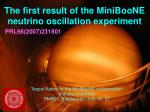 The first result of the MiniBooNE neutrino oscillation experiment