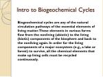 Intro to Biogeochemical Cycles