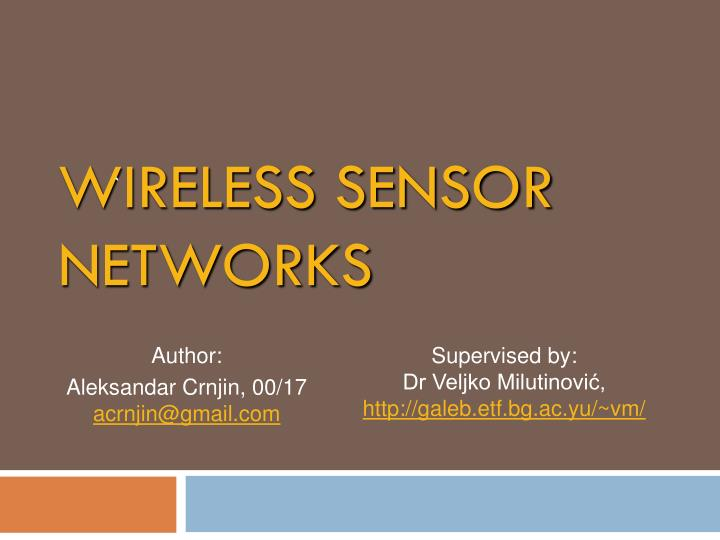 wireless sensor networks n.