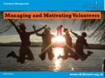 Managing and Motivating Volunteers