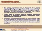 """Introduction to the training programme """"Family learning on work and life balance"""""""