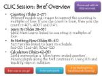 CLIC Session: Brief Overview