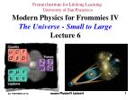 Modern Physics IV Lecture 6