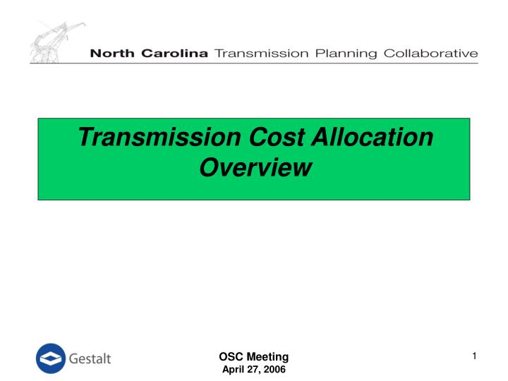 transmission cost allocation overview n.