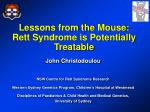 Lessons from the Mouse: Rett Syndrome is Potentially Treatable