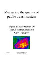 Measuring the quality of public transit system