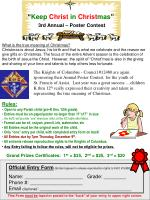 """"""" Keep Christ in Christ mas """" 3rd Annual – Poster Contest"""