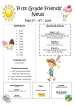 First Grade Friends' News May 5 th  – 9 th  , 2014