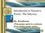 Introduction to Narrative Poetry: The Odyssey