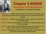 Chapter 5 AHSGE Secession and Resistance (Vocabulary & Chapter Review)